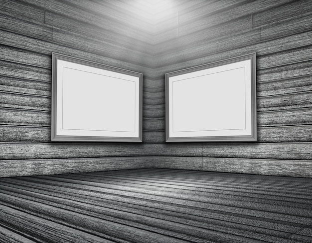 空の画像フレームとは、木製の部屋のインテリアの3dレンダリング