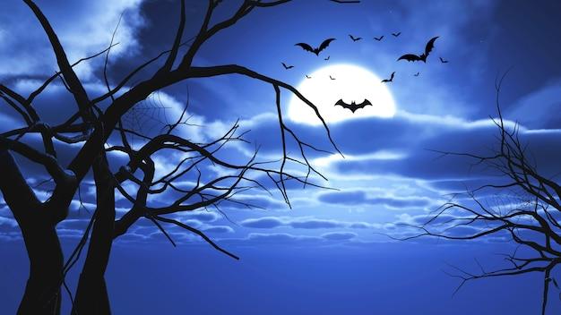 コウモリと木のシルエットでハロウィーンの風景の3dレンダリング