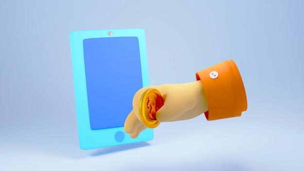 水色の背景で隔離の青いスマートフォンにコインを挿入する手の3dレンダリング