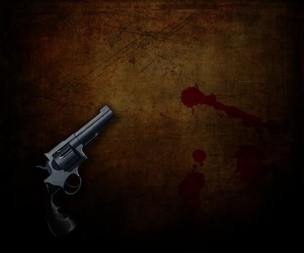 血のはね返しとグランジの背景に拳銃の3dレンダリング