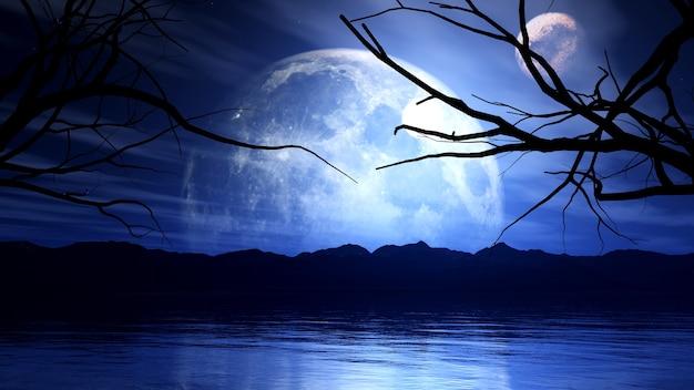 달, 행성 및 나무 실루엣으로 잊혀지지 않는 배경의 3d 렌더링