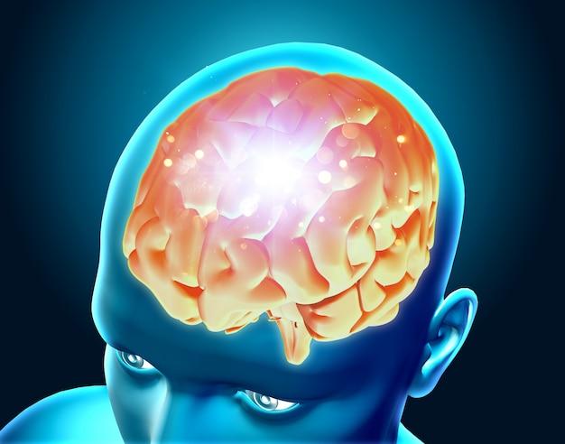 강조 표시된 뇌의 3d 렌더링