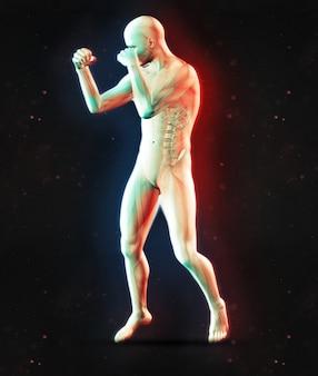 デュアルカラー効果とボクシングポーズの男性の図の3dレンダリング