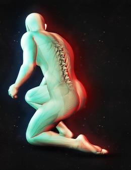 3d рендеринг мужской фигуры в положении на коленях с выделенным корешком и двойным цветовым эффектом