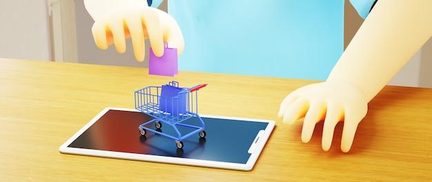 남자와 모바일의 3d 렌더링입니다. 온라인 쇼핑 및 웹 비즈니스 개념에 전자 상거래. 스마트 폰으로 안전한 온라인 결제 거래.