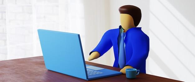 남자와 노트북의 3d 렌더링입니다. 온라인 쇼핑 및 웹 비즈니스 개념에 전자 상거래. 스마트 폰으로 안전한 온라인 결제 거래.