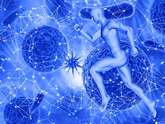3d-рендеринг медицинского фона с мужской фигурой и вирусной клеткой, атакующей другую