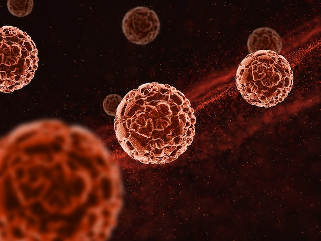 추상 바이러스 세포와 의료 배경의 3d 렌더링