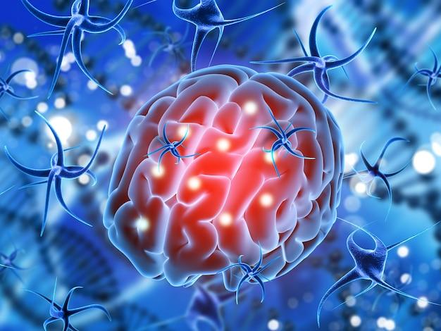 바이러스 세포에 의해 공격 받고 뇌와 의료 배경의 3d 렌더링
