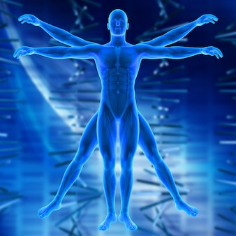 비트 루비 안 스타일 남성 그림으로 의료 배경의 3d 렌더링
