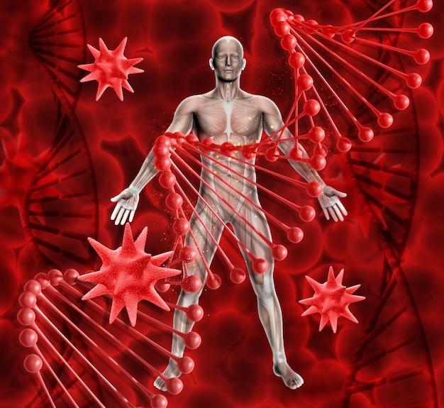 3d визуализации медицинского фона с мужской фигурой днк нитей и вирусных клеток