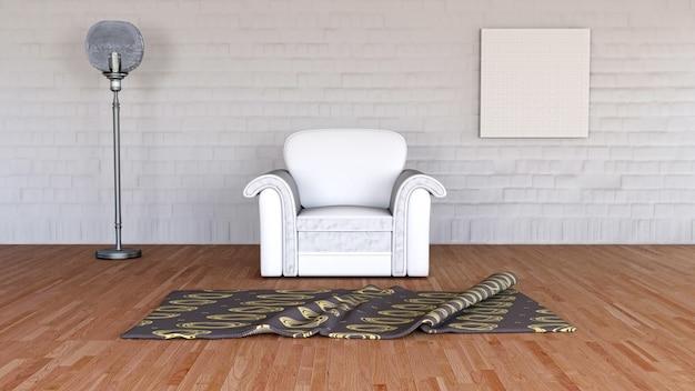 3d-рендеринг минималистического интерьера комнаты
