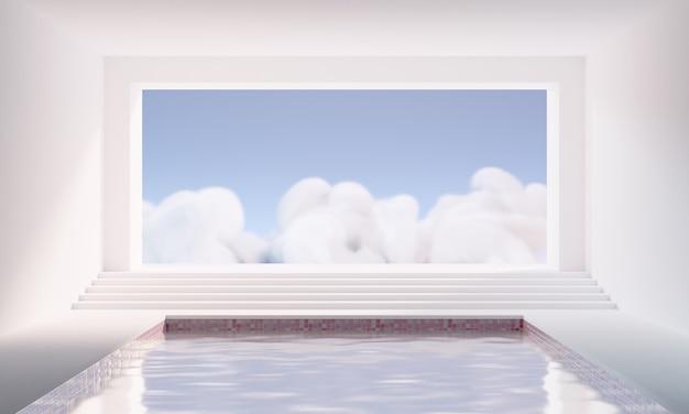 プールと抽象的なシュールな大きな窓のあるミニマルな空の白い部屋の3dレンダリング。製品の表示または背景用の空白の台座領域。
