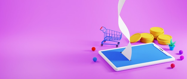 3d визуализация мобильного телефона, золотых монет и тележки для покупок на фиолетовом фоне
