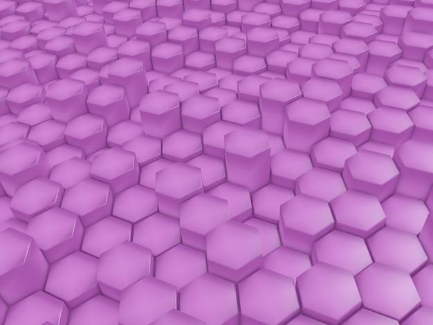 핑크 돌출 육각형과 현대 추상 배경의 3d 렌더링