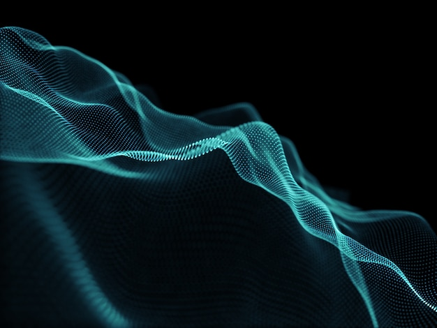 흐르는 사이버 도트와 현대적인 배경의 3d 렌더링