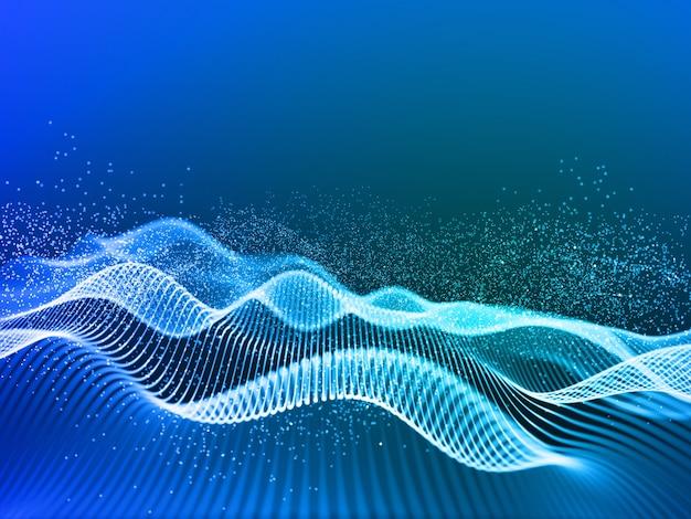 흐르는 사이버 라인과 입자와 현대적인 배경의 3d 렌더링