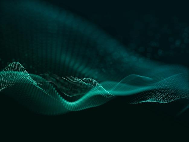 흐르는 사이버 입자와 현대 배경의 3d 렌더링
