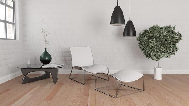 3d-рендеринг современного интерьера комнаты