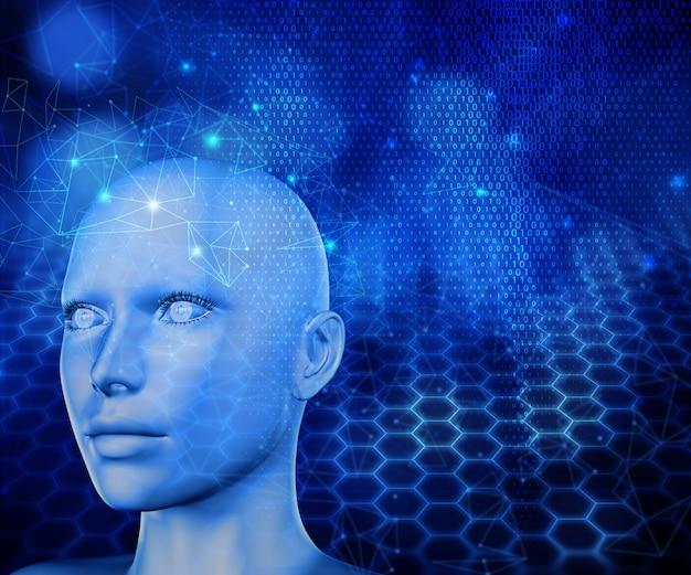 女性の頭と現代技術の背景の3dレンダリング