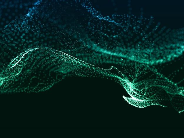 流れるような抽象的な粒子デザインを備えたモダンな3dレンダリング