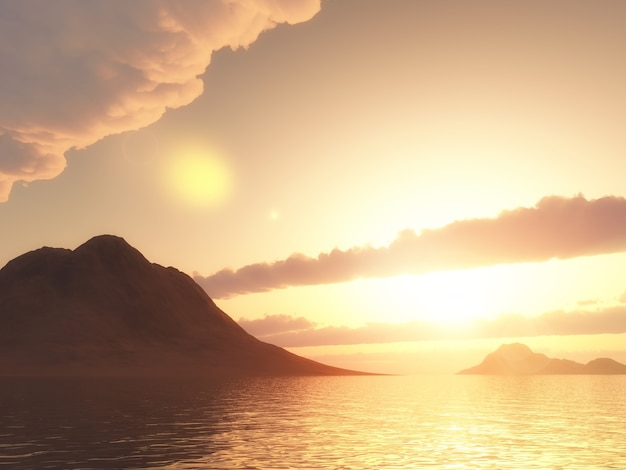 일몰 하늘에 대하여 바다에서 산의 3d 렌더링