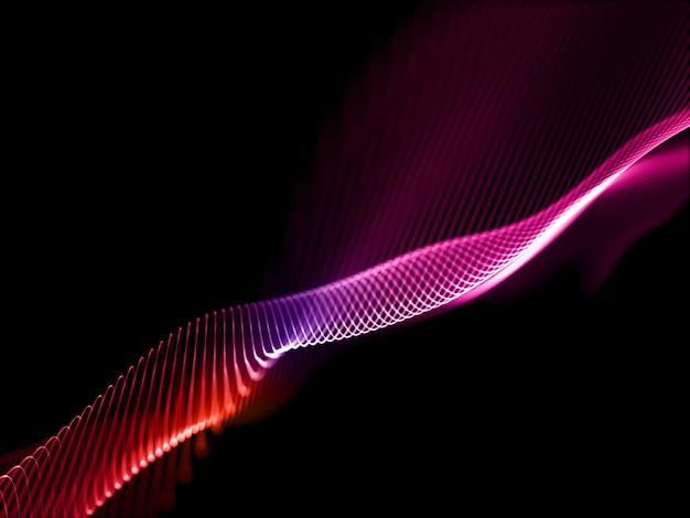 流れる粒子によるネットワーク通信の背景の3dレンダリング