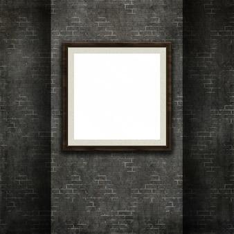 3d-рендеринг рамы для картин на фоне текстуры кирпичной стены гранж