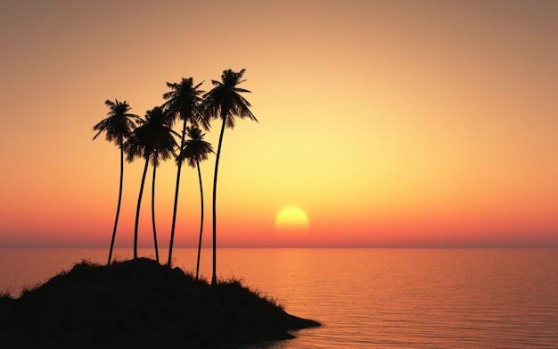 3d визуализация острова сливовое дерево на фоне закатного неба