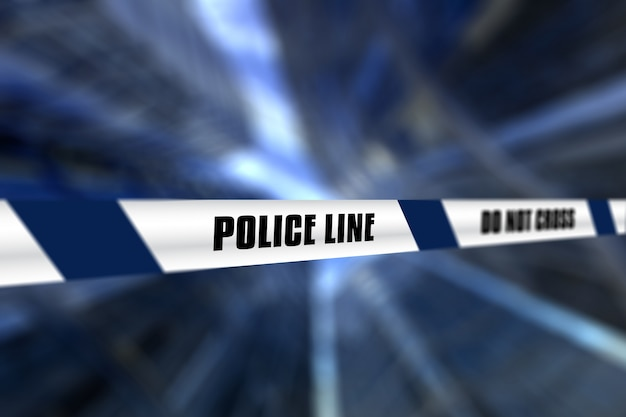 Defocussed背景に対する警察ラインテープの3dレンダリング