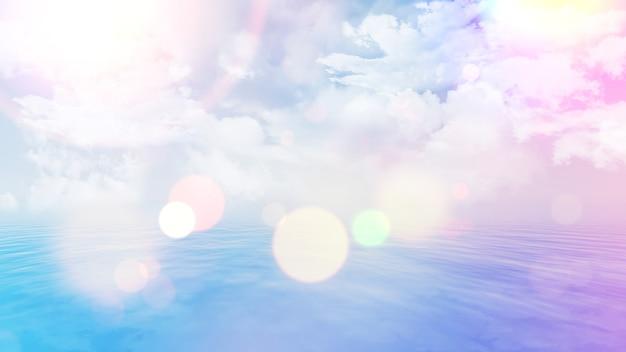 복고 스타일 바다 풍경의 3d 렌더링
