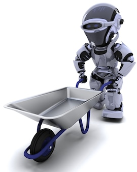 3d render of a robot with a wheel barrow