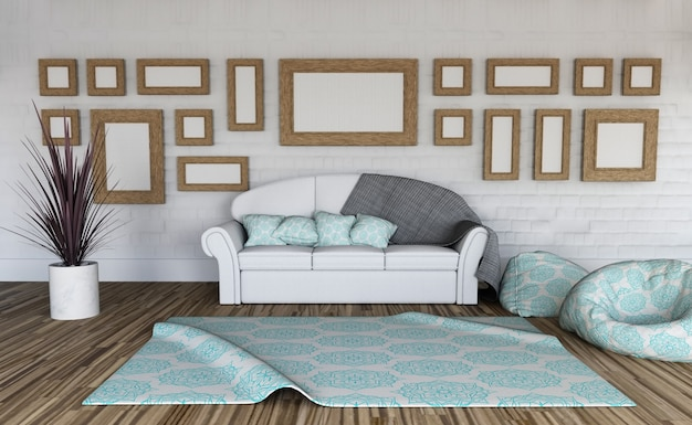 3d-рендеринг интерьера комнаты с коллекцией пустых рамок для картин на стене