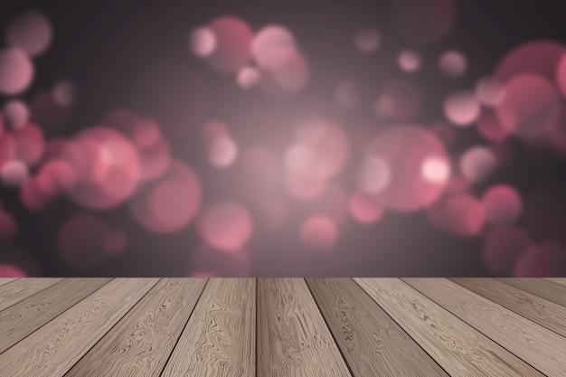 ボケ味の素朴な木製テーブルの3dレンダリングは、クリスマスの背景を照らします