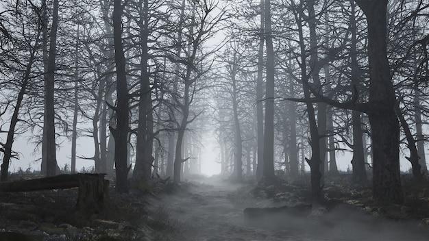안개 속에서 무섭고 빈 숲의 3d 렌더링