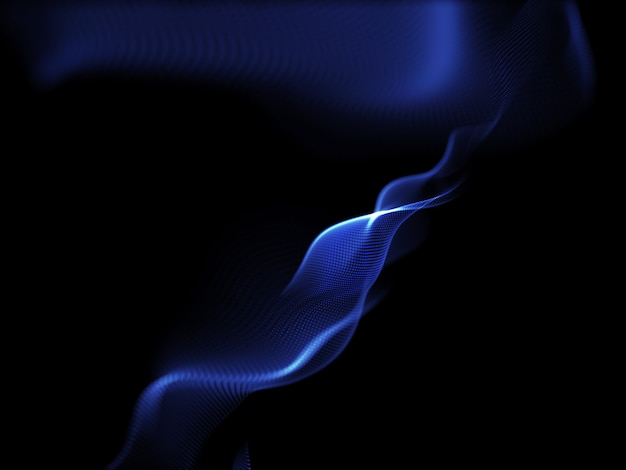 流れる粒子を使用した単純なデザインの3dレンダリング