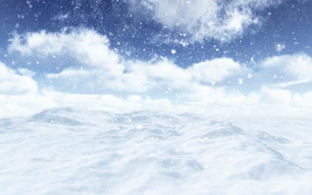 떨어지는 눈송이와 눈 덮인 풍경의 3d 렌더링