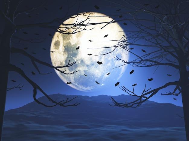 3d визуализация жуткого пейзажа хэллоуина