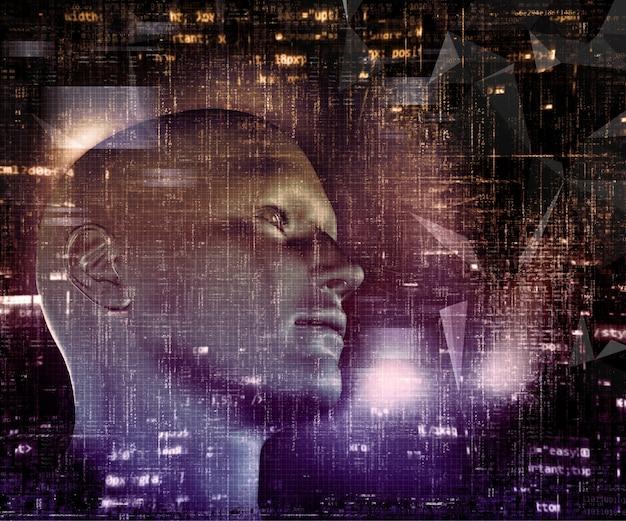 3d визуализации техно фон с мужской головой и программный код Бесплатные Фотографии