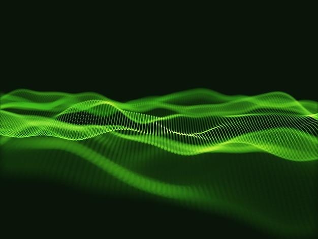 流れる粒子を使用したテクノサイエンスの背景の3dレンダリング