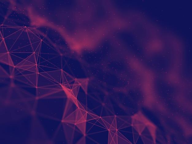 3d визуализация технологического фона с дизайном структуры сетевых коммуникаций