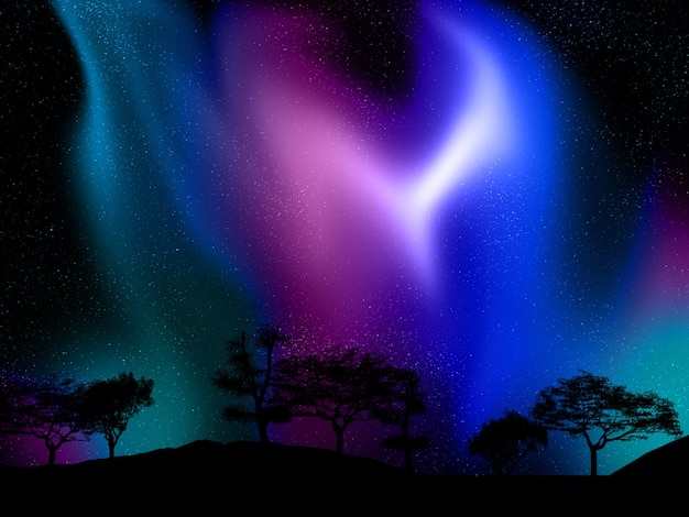 오로라 하늘을 배경으로 나무 풍경의 3d 렌더링