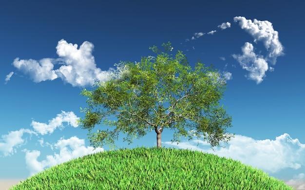 잔디 지구에 버드 나무의 3d 렌더링