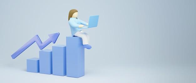여자와 노트북의 3d 렌더링입니다. 온라인 쇼핑 및 웹 비즈니스 개념에 전자 상거래. 스마트 폰으로 안전한 온라인 결제 거래.