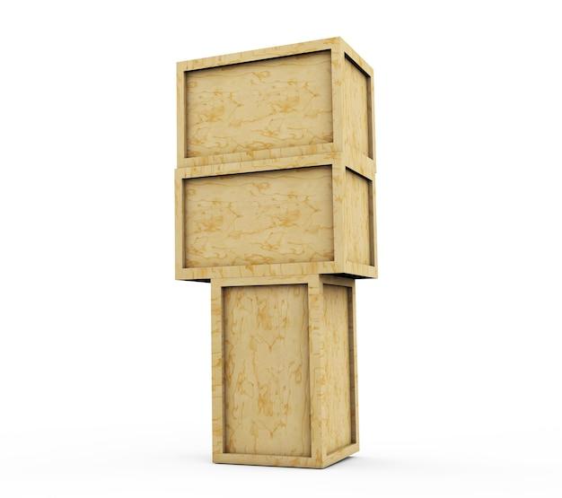 3d визуализация деревянного ящика, изолированного на белом