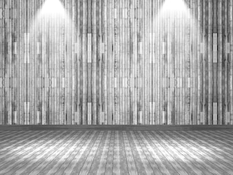 3D render of a wooden interior with spotlights shining down