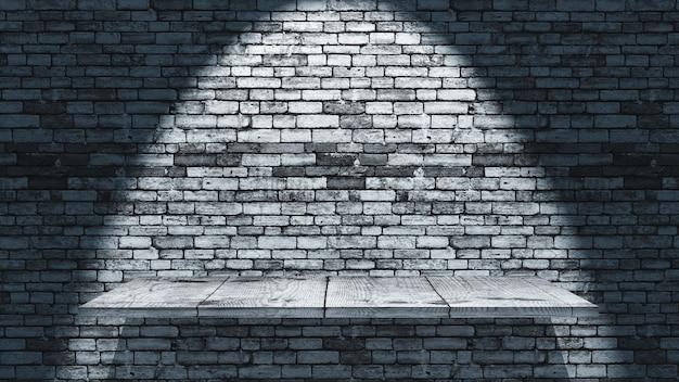 3d визуализация деревянной полки на фоне старой кирпичной стены