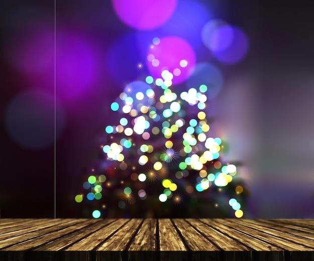 焦点がぼけたクリスマスツリーの背景に対する木製のテーブルの3dレンダリング
