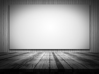 3D render of a wooden table looking out to a blank canvas on a wood wall