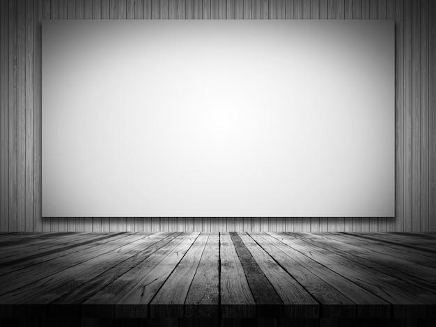 3d визуализации деревянный стол, глядя на пустой холст на деревянной стене